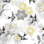 MARBELLA, GRAY BIRD FLORAL, BY QUILTERS PALETTE