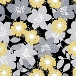 MARBELLA, BLACK  FLORAL, BY QUILTERS PALETTE