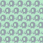 PLAYFUL CUTIES,MINT ELEPHANTS FLANNEL,BY 3 WISHES