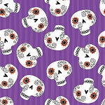 TRICK or TREAT, PURPLE SKULLS, BY QUILTER'S  PALETTE
