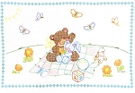BEARS & BUNNIES CRIB QUILT TOP , BY JACK DEMPSEY NEEDLE ART