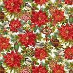 CHRISTMAS JOY,CREAM POINSETTIAS  W/ METALLIC, BY STUDIO E
