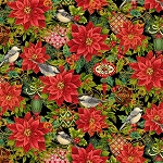 CHRISTMAS JOY,BLACK POINSETTIAS  W/ METALLIC, BY STUDIO E