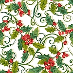 CHRISTMAS JOY, CREAM CHRISTMAS HOLLY, W/ METALLIC, BY STUDIO E