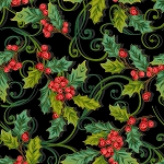 CHRISTMAS JOY,BLACK CHRISTMAS  HOLLY, W/ METALLIC, BY STUDIO E