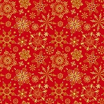 CHRISTMAS JOY,RED CHRISTMAS SNOWFLAKES , W/ METALLIC, BY STUDIO E