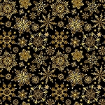 CHRISTMAS JOY,BLACK CHRISTMAS SNOWFLAKES , W/ METALLIC, BY STUDIO E