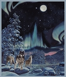 MULTI NORTHERN LIGHTS WOLF PANEL, BY WHISTLER STUDIO