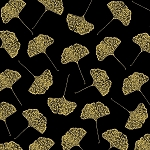 PRECIOUS METAL NATURE, BLACK GINGKO LEAVES W/ GOLD METALLIC