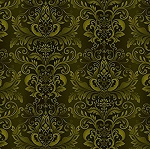 WELCOME HARVEST, GREEN DAMASK  LEAVES, BY HENRY GLASS