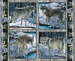 WILD WINGS SILVER SHADOWS WOLF PILLOW PANEL,BY SPRINGS