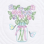 MASON JAR & FLOWERS QUILT BLOCKS , BY JACK DEMPSEY NEEDLE ART