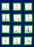 LIGHTHOUSES QUILT BLOCKS , BY JACK DEMPSEY NEEDLE ART