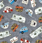QUILTERS ROAD TRIP, GREY CAMPERS, BY MAYWOOD STUDIO