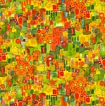 QUILTERS ROAD TRIP, ORANGE PAINTERLY MOSAIC , BY MAYWOOD STUDIO
