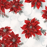 HOLIDAY FLOURISH 12,SILVER POINSETTIA ON LACE W/ METALLIC, BY ROBERT KAUFMAN