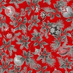 HOLIDAY FLOURISH 12, SCARLET ORNAMENTS W/ METALLIC , BY ROBERT KAUFMAN