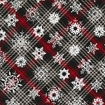 CHRISTMAS CABIN,  SNOWFLAKES ON PLAID BY TIMELESS TREASURES