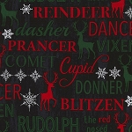 CHRISTMAS CABIN,  REINDEER NAMES BY TIMELESS TREASURES