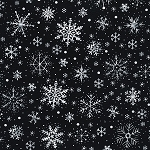 LET IT SNOW  BLACK  SNOWFLAKES, BY TIMELESS TREASURES