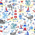 WHALE HELLO, WHITE NAUTICAL TOSS,BY TIMELESS TREASURES