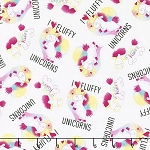 UNICORNS,I LOVE FLUFFY, BY QUILTING TREASURES