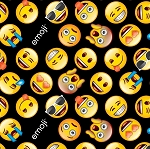 BLACK/YELLOW CLASSIC EMOJI, BY DAVID TEXTILES