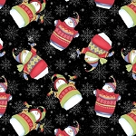 SWEATER WEATHER FLANNEL,BLACK TOSS SNOWMEN , BY HENRY GLASS