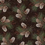 RUSTIC CHARM FLANNEL, BROWN BRANCHES WITH PINECONES,BY HENRY GLASS