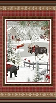 RUSTIC CHARM FLANNEL, WINTER SCENE PANEL,BY HENRY GLASS