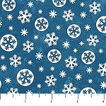 BELOW ZERO, FLANNEL , LARGE DENIM SNOWFLAKES BY NORTHCOTT