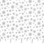 BELOW ZERO, FLANNEL , SMALL GREY SNOWFLAKES  , BY NORTHCOTT