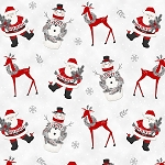 FROSTY FRIENDS,SANTA/REINDEER/SNOWMEN  FLANNEL, BY HENRY GLASS