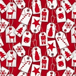 FROSTY FRIENDS, RED  HOLIDAY TAGS,FLANNEL, BY HENRY GLASS