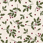 MOST WONDERFUL TIME  FLANNEL, CREAM HOLLY ,BY MAYWOOD STUDIO