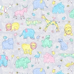 TWO BY TWO , GREY MIST ANIMALS ALLOVER, BY EPIC FABRICS