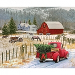 CHRISTMAS MEMORIES, COUNTRY CHRISTMAS PANEL, BY RILEY BLAKE DESIGNS