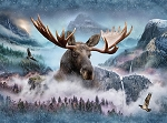CALL OF THE WILD ,WATERFALL MOOSE,BY HOFFMAN