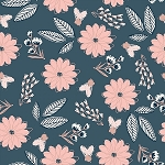 BLUSH MAIN SPARKLE METALLIC BLUE FLORAL,BY RILEY BLAKE