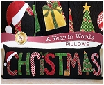 A YEAR IN WORDS , CHRISTMAS DECEMBER ,PILLOW PATTERN, BY SHABBY FABRICS