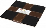 10 In. Squares Kona Solid Black & Snow.21pcs Of Each Color