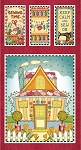 SEW LET'S STITCH, RED QUILTED HOUSE BANNER PANEL, BY HENRY GLASS