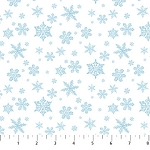 CHRISTMAS WOODLAND , BLUE SNOWFLAKES ON WHITE, BY NORTHCOTT