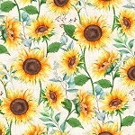 SUNDANCE MEADOW, SUNFLOWERS LARGE CREAM, BY WILMINGTON