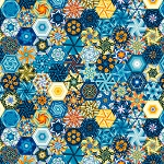 THE LIGHTKEEPER'S QUILT, MULTI HEXIES, BY STUDIO E