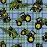 John Deere Tractor on Plaid, From Spring Creative Licensed group A