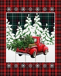 CHRISTMAS OVER THE RIVER RED TRUCK 36'' PANEL, BY SPRINGS