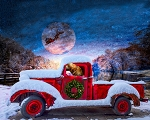DIGITALLY PRINTED CHRISTMAS RED TRUCK w/ SANTA SLEIGH PANEL, BY DAVID TEXTILES