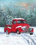 DIGITALLY PRINTED SNOWY RED TRUCK w/ CHRISTMAS TREE IN BACK, BY DAVID TEXTILES