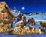 DIGITALLY PRINTED WINTER NATIVITY SCENE PANEL, BY DAVID TEXTILES